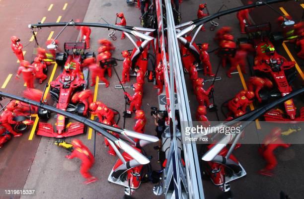 Carlos Sainz of Spain driving the Scuderia Ferrari SF21 makes a pitstop during the F1 Grand Prix of Monaco at Circuit de Monaco on May 23, 2021 in...