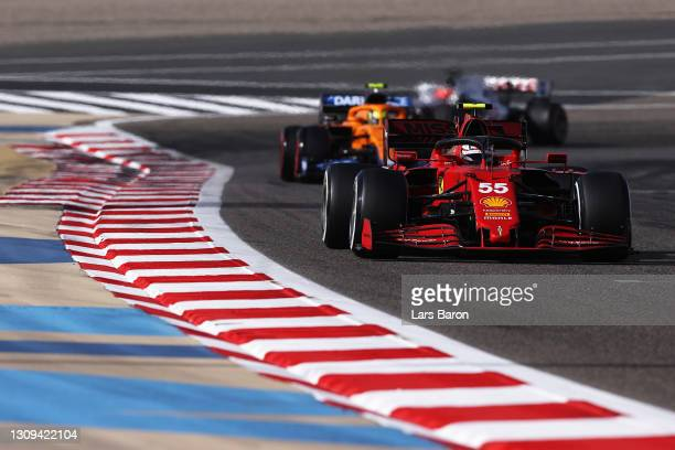 Carlos Sainz of Spain driving the Scuderia Ferrari SF21 on track during final practice ahead of the F1 Grand Prix of Bahrain at Bahrain International...