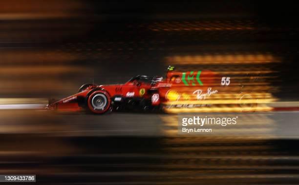 Carlos Sainz of Spain driving the Scuderia Ferrari SF21 on track during qualifying ahead of the F1 Grand Prix of Bahrain at Bahrain International...