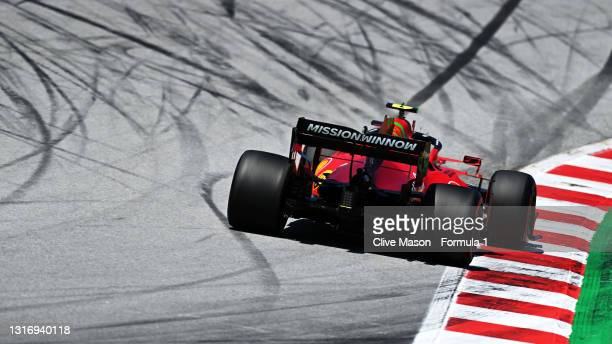 Carlos Sainz of Spain driving the Scuderia Ferrari SF21 on track during final practice for the F1 Grand Prix of Spain at Circuit de...