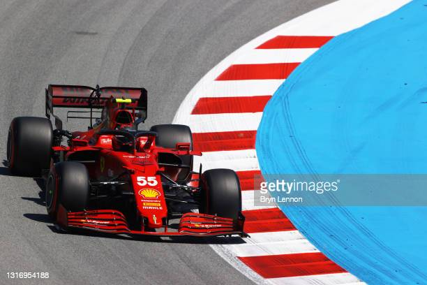 Carlos Sainz of Spain driving the Scuderia Ferrari SF21 on track during qualifying for the F1 Grand Prix of Spain at Circuit de Barcelona-Catalunya...