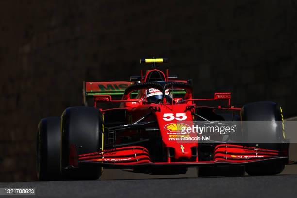 Carlos Sainz of Spain driving the Scuderia Ferrari SF21 on track during practice ahead of the F1 Grand Prix of Azerbaijan at Baku City Circuit on...