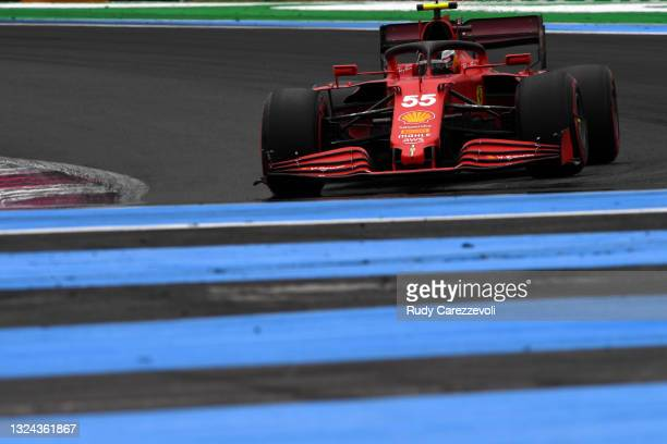 Carlos Sainz of Spain driving the Scuderia Ferrari SF21 on track during final practice ahead of the F1 Grand Prix of France at Circuit Paul Ricard on...