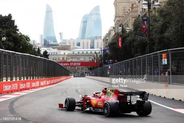 Carlos Sainz of Spain driving the Scuderia Ferrari SF21 on track during the F1 Grand Prix of Azerbaijan at Baku City Circuit on June 06, 2021 in...