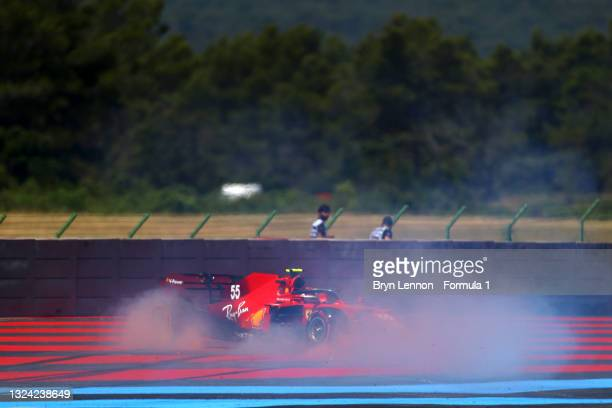 Carlos Sainz of Spain driving the Scuderia Ferrari SF21 spins during practice ahead of the F1 Grand Prix of France at Circuit Paul Ricard on June 18,...