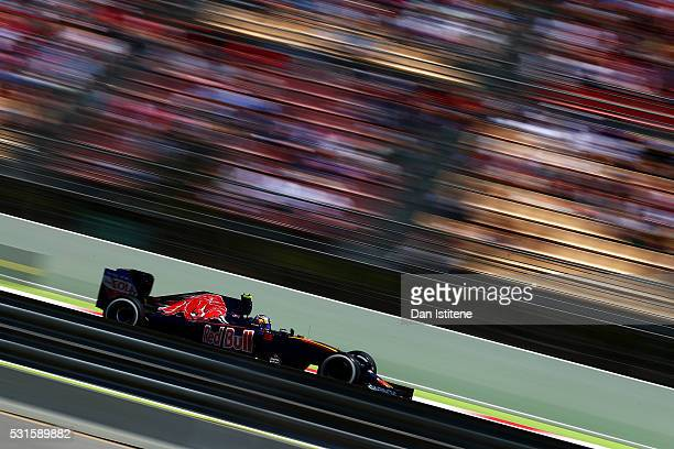 Carlos Sainz of Spain driving the Scuderia Toro Rosso STR11 Ferrari 060/5 turbo on track during the Spanish Formula One Grand Prix at Circuit de...
