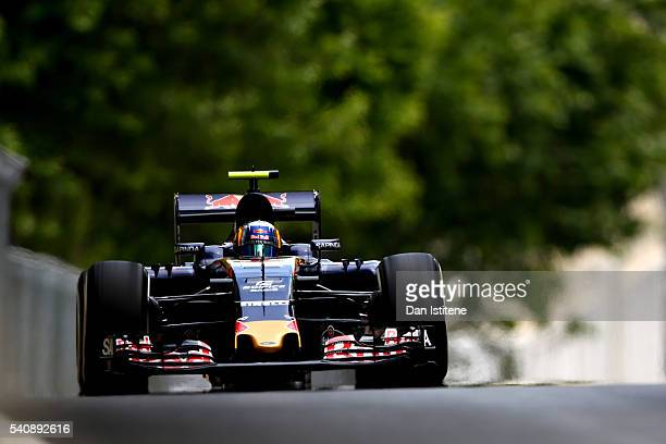Carlos Sainz of Spain driving the Scuderia Toro Rosso STR11 Ferrari 060/5 turbo on track during practice for the European Formula One Grand Prix at...