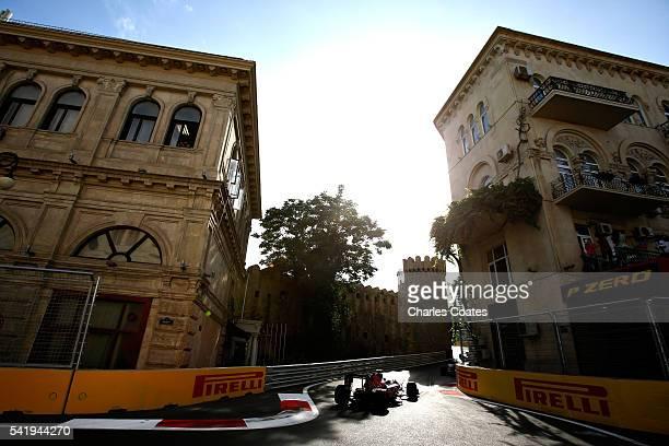 Carlos Sainz of Spain driving the Scuderia Toro Rosso STR11 Ferrari 060/5 turbo on track during the European Formula One Grand Prix at Baku City...