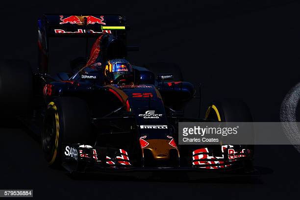 Carlos Sainz of Spain driving the Scuderia Toro Rosso STR11 Ferrari 060/5 turbo on track during the Formula One Grand Prix of Hungary at Hungaroring...