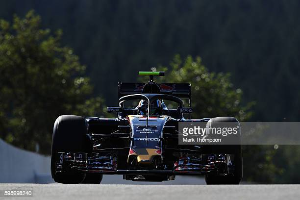 Carlos Sainz of Spain driving the Scuderia Toro Rosso STR11 Ferrari 060/5 turbo fitted with the halo on track during practice for the Formula One...