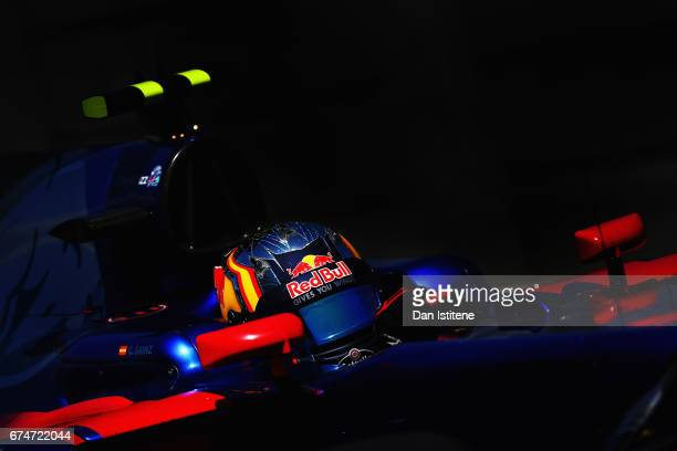 Carlos Sainz of Spain driving the Scuderia Toro Rosso STR12 on track during final practice for the Formula One Grand Prix of Russia on April 29 2017...