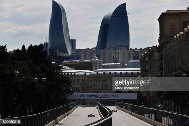 Carlos Sainz of Spain driving the Scuderia Toro Rosso STR12 on track during practice for the European Formula One Grand Prix at Baku City Circuit on...