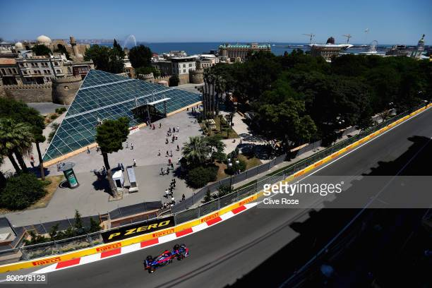 Carlos Sainz of Spain driving the Scuderia Toro Rosso STR12 on track during final practice for the Azerbaijan Formula One Grand Prix at Baku City...
