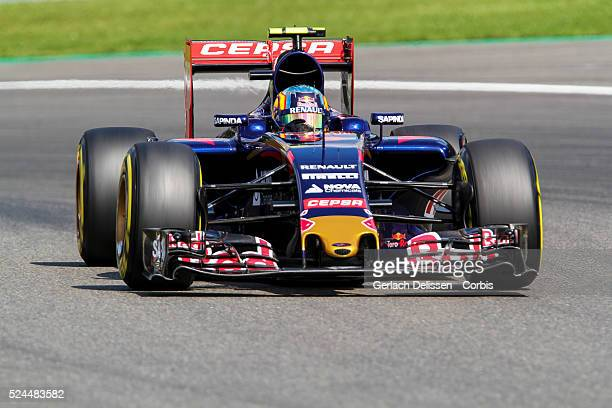 Carlos Sainz of the Scuderia Toro Rosso Team during the 2015 Formula 1 Shell Belgian Grand Prix free practice 2 at Circuit de Spa-Francorchamps in...