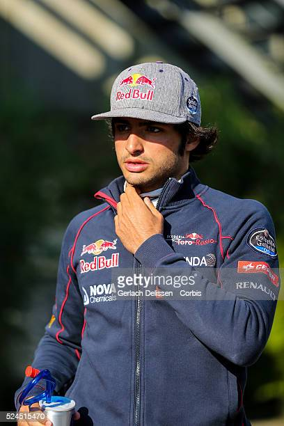 Carlos Sainz of the Scuderia Toro Rosso Team during the 2015 Formula 1 Shell Belgian Grand Prix free practise 1 at Circuit de Spa-Francorchamps in...