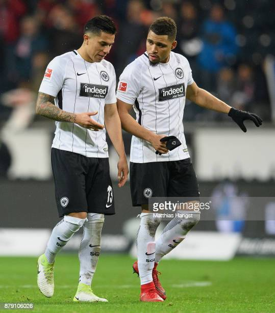 Carlos Salcedo and Simon Falette of Frankfurt discuss during the Bundesliga match between Eintracht Frankfurt and Bayer 04 Leverkusen at...