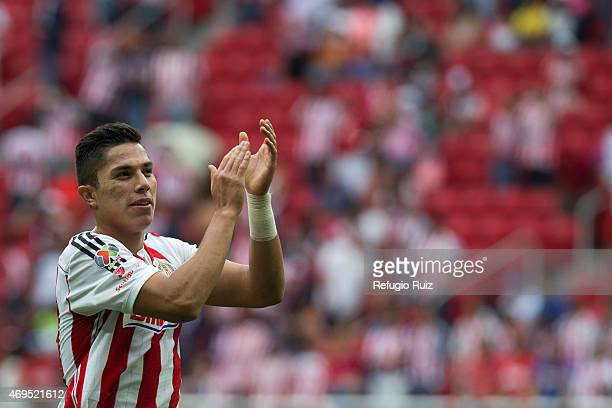 Carlos Salcedo celebrates the victory of his team after a match between Chivas and Leon as part of 13th round of Clausura 2015 Liga MX at Omnilife...