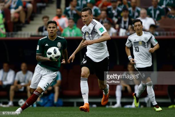 Carlos Salcedo Julian Draxler Mesut Oezil during the 2018 FIFA World Cup Russia group F match between Germany and Mexico at Luzhniki Stadium on June...