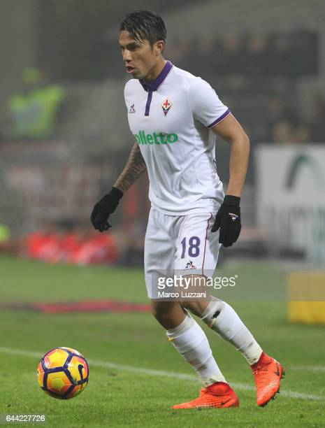 Carlos Salcedo of ACF Fiorentina in action during the Serie A match between AC Milan and ACF Fiorentina at Stadio Giuseppe Meazza on February 19 2017...