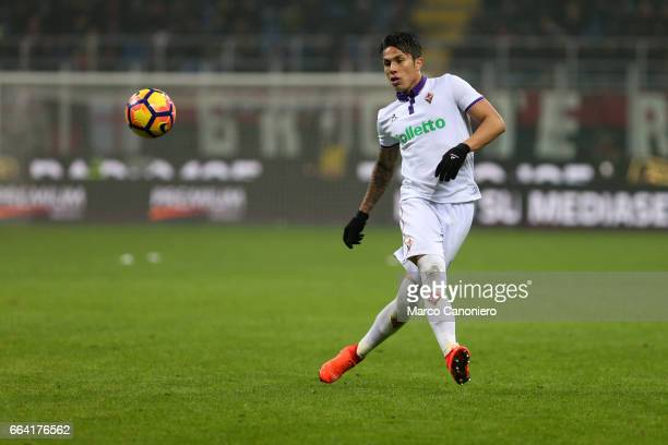 Carlos Salcedo of ACF Fiorentina in action during the Serie A match between AC Milan and ACF Fiorentina AC Milan wins 21 over ACF Fiorentina