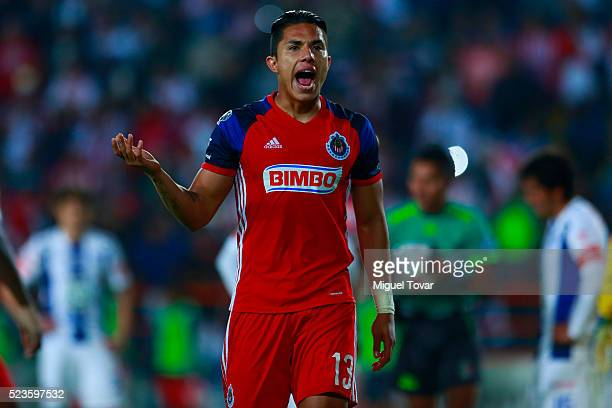 Carlos Salcedo of Chivas gestures during the 15th round match between Pachuca and Chivas as part of the Clausura 2016 Liga MX at Hidalgo Stadium on...