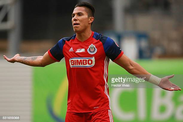 Carlos Salcedo of Chivas reacts during the quarter finals second leg match between America and Chivas as part of the Clausura 2016 Liga MX at Azteca...