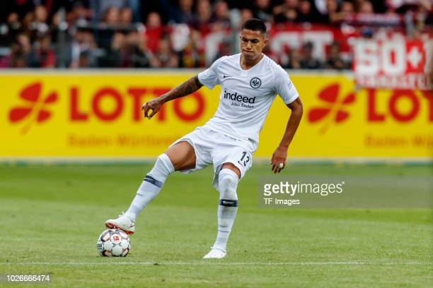 Carlos Salcedo of Eintracht Frankfurt controls the ball during the Bundesliga match between SportClub Freiburg and Eintracht Frankfurt at...