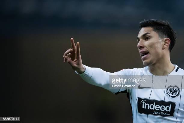 Carlos Salcedo of Frankfurt gestures during the Bundesliga match between Eintracht Frankfurt and FC Bayern Muenchen at CommerzbankArena on December 9...