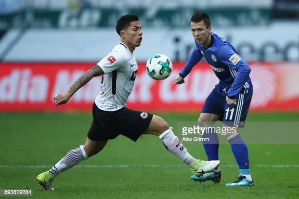 Carlos Salcedo of Frankfurt is chased by Yevhen Konopljanka of Schalke during the Bundesliga match between Eintracht Frankfurt and FC Schalke 04 at...