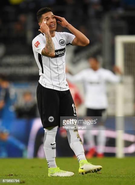 Carlos Salcedo of Frankfurt shows his disappointment during the Bundesliga match between TSG 1899 Hoffenheim and Eintracht Frankfurt at Wirsol...