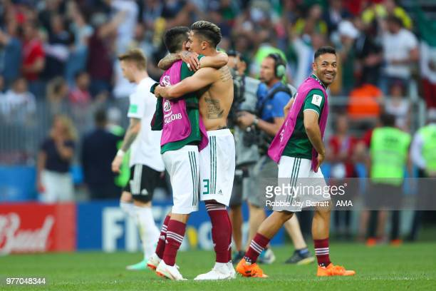 Carlos Salcedo of Mexico celebrates with his teammates at the end of the 2018 FIFA World Cup Russia group F match between Germany and Mexico at...