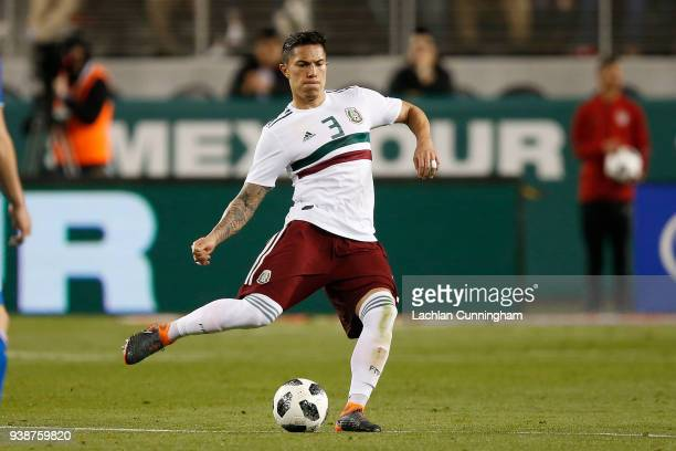 Carlos Salcedo of Mexico controls the ball against Iceland during they match at Levi's Stadium on March 23 2018 in Santa Clara California