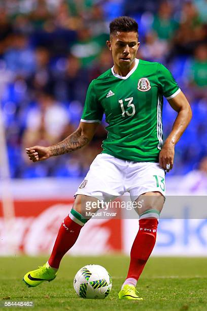 Carlos Salcedo of Mexico controls the ball during an U23 International Friendly between Mexico and Argentina at Cuauhtemoc Stadium on July 28 2016 in...