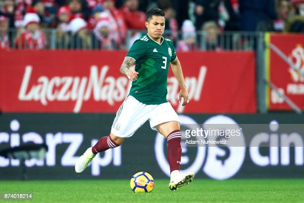 Carlos Salcedo of Mexico controls the ball during the International Friendly match between Poland and Mexico at Energa Arena Stadium on November 13...