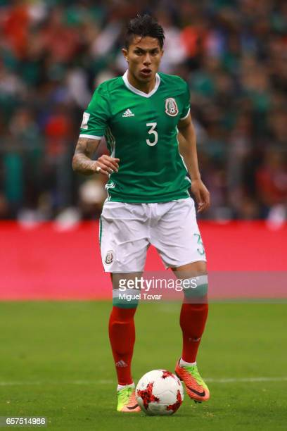 Carlos Salcedo of Mexico drives the ball during the fifth round match between Mexico and Costa Rica as part of the FIFA 2018 World Cup Qualifiers at...