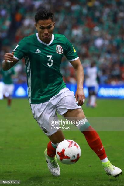 Carlos Salcedo of Mexico drives the ball during the match between Mexico and The United States as part of the FIFA 2018 World Cup Qualifiers at...