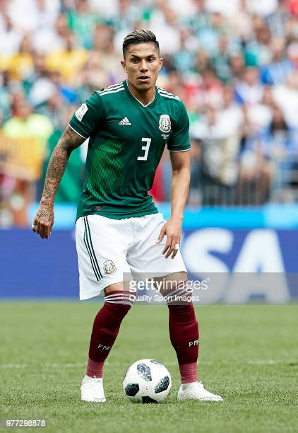 Carlos Salcedo of Mexico during the 2018 FIFA World Cup Russia group F match between Germany and Mexico at Luzhniki Stadium on June 17 2018 in Moscow...