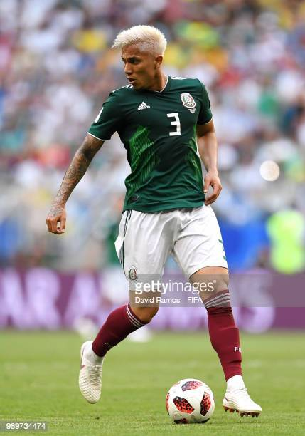 Carlos Salcedo of Mexico during the 2018 FIFA World Cup Russia Round of 16 match between Brazil and Mexico at Samara Arena on July 2 2018 in Samara...