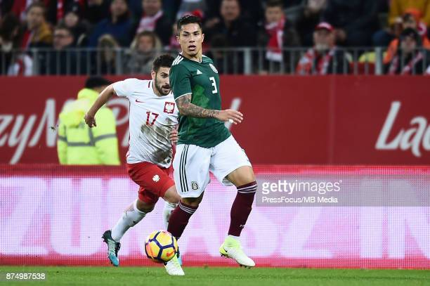 Carlos Salcedo of Mexico during the international friendly match between Poland and Mexico on November 13 2017 in Gdansk Poland