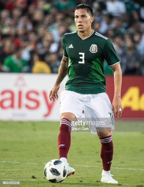 Carlos Salcedo of Mexico during the international friendly match between Mexico and Wales at the Rose Bowl on May 28 2018 in Pasadena California