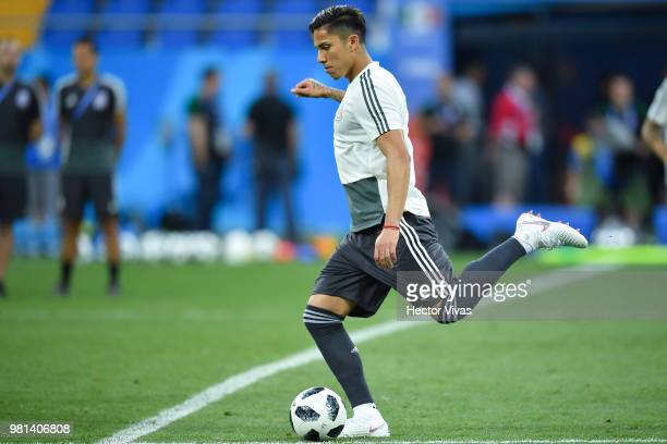 Carlos Salcedo of Mexico kicks the ball during a training session ahead of the match against Korea as part of FIFA World Cup Russia 2018 at Rostov...