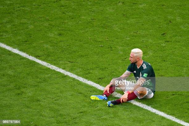 Carlos Salcedo of Mexico looks dejected following the 2018 FIFA World Cup Russia Round of 16 match between Brazil and Mexico at Samara Arena on July...