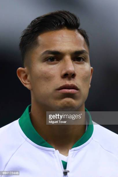 Carlos Salcedo of Mexico looks on prior to the match between Mexico and Honduras as part of the FIFA 2018 World Cup Qualifiers at Azteca Stadium on...