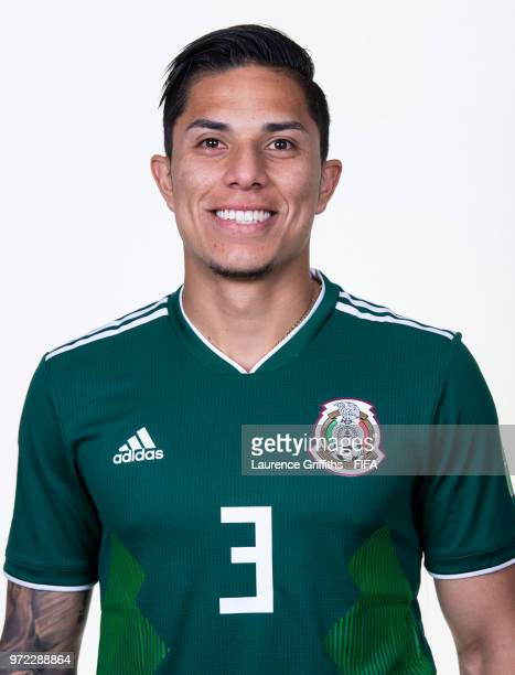 Carlos Salcedo of Mexico poses for a portrait during the official FIFA World Cup 2018 portrait session at the Team Hotel on June 12 2018 in Moscow...