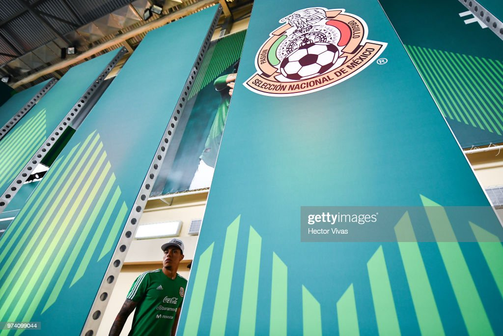 Carlos Salcedo of Mexico, walks outside a press conference at team training base Novogorsk-Dynamo on June 14, 2018 in Moscow, Russia.