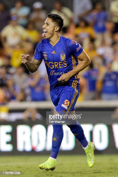 Carlos Salcedo of Tigres UANL celebrates after making the final goal against Club America in overtime penalty kicks during the Leagues Cup semifinal...