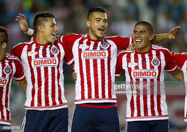 Carlos Salcedo Ricardo Vázquez and Carlos Salcido of Chivas celebrate after winning a final match between Leon and Chivas as part of the Copa MX...