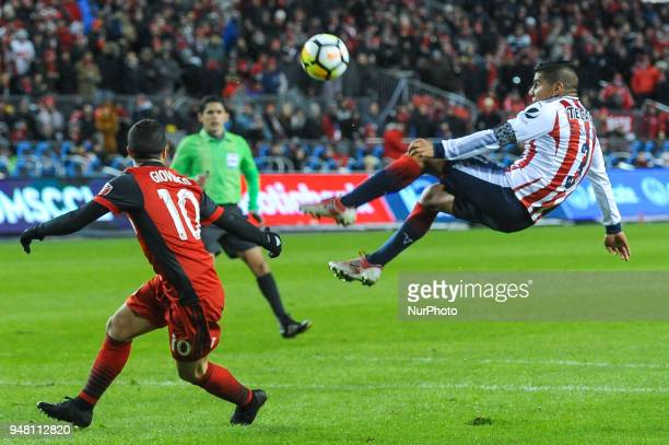Carlos Salcido kick the ball in the air during the 2018 CONCACAF Champions League Final match between Toronto FC and CD Chivas Guadalajara at BMO...