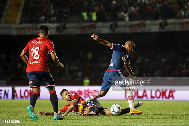 Carlos Salcido of Chivas shoots the ball during a 1st round match between Veracruz and Chivas as part of the Apertura 2015 Liga MX at Luis 'Pirata'...