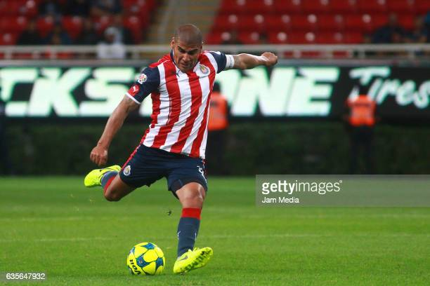 Carlos Salcido of Chivas takes a shot during the 4th round match between Chivas and Venados as part of the Torneo Clausura 2017 Copa MX at Chivas...